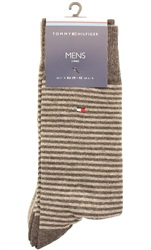 Tommy Jeans Grey Marl 2 Pack Stripe Socks