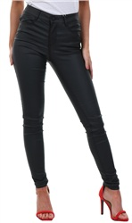 Black Leather Commit Hw Pant by Vila