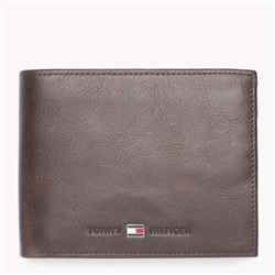 Hilfiger Denim Brown Leather Trifold Wallet
