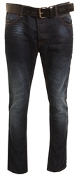 Crosshatch Dark Denim Blue Wayne Straight Jeans