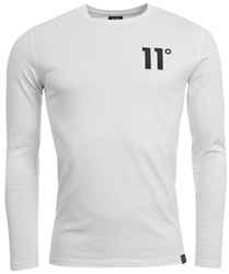 White Long Sleeve Tee by 11degrees