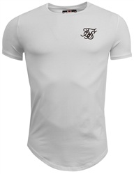 Siksilk White Plain Curved Hem Tee