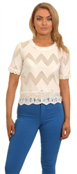 Cutie London White Lace Frill Top