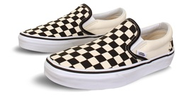 Vans Black/White (Womens) Checkerboard Classic Slip-On Shoes