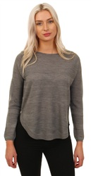Only Grey Caviar Knit Rose Long Sleeve Sweater