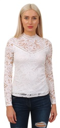 White Long Sleeve Lace Top by Vila