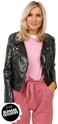 Brave Soul Black Slick Biker Jacket