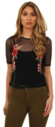 Parisian Black Floral Mesh Top