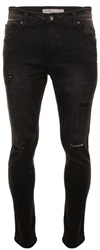 Crosshatch Black Torn Jean