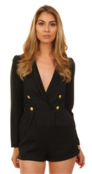 Miss Truth Black Military Playsuit