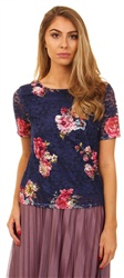 Urban Bliss Navy Lace Top Floral Lace Top