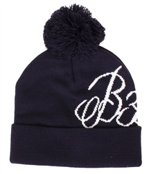 Bee Inspired Navy Bobble Beanie Hat