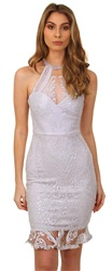Lipsy Silver Embroidered Dress