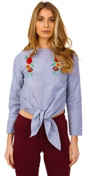 Influence Blue Floral Tie Top