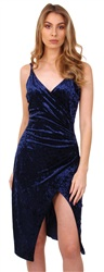 Cutie London Navy Velour Wrap Dress
