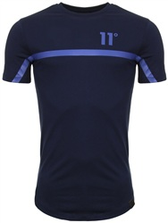 11degrees Navy And Blue Reflective Tee