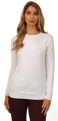 Qed Cream Lace And Pearl Detail Jumper