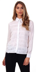 Fashion Union White Norval Frill Shirt White