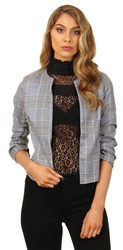 Parisian Grey Houndstooth Short Blazer