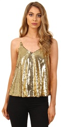 Cutie London Gold Sequin Strappy Top