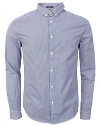 Superdry Blue Basket Stripe Premium Button Down Long Sleeve Shirt