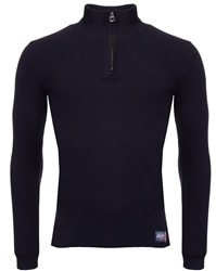 Superdry Navy Metropolitan Northside Henley Half Zip Sweater