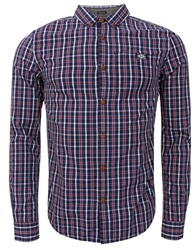 Superdry Drayton Navy Check Washbasket Long Sleeve Button Down Shirt