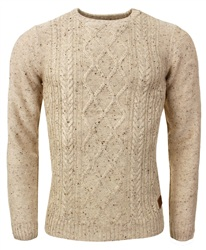 Threadbare Stone Cable Knit Jumper