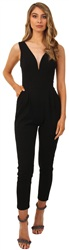 Wal/G Black Walg Deep V Jumpsuit