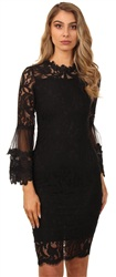 Ax Paris Black Frill Sleeve Lace Midi Dress