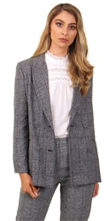 Parisian Grey Check Double Breasted Blazer