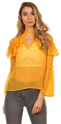 Influence Mustard Frill Long Sleeve Blouse