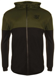 Siksilk Khaki & Black Ultra Tech Zip Through Hoodie