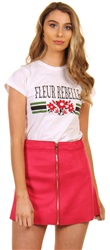 Only Virtual Pink Bonded Faux Suede Skirt