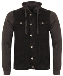 Brave Soul Black Denim Jersey Hudson Jacket