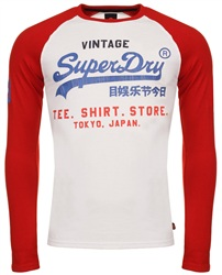 Superdry Optic/Superdry Stadium Red Shirt Shop Tri Raglan T-Shirt