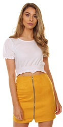 Fashion Union White Broderie Woven Crop Top