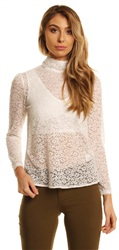 Fashion Union White Lace Blouse