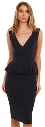 Wal/G Navy Peplum Midi Dress