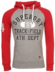 Superdry Trophy Grey Grit/Upstate Red Trackster Baseball Hoodie