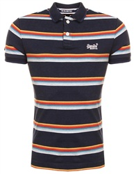 Superdry Navy Feeder Stripe Classic Cali Surf Polo Shirt