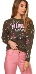 Superdry Camdewn Khaki Splatter Punk Crew Sweater
