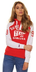 Superdry Flare Red/Ice Marl Team Sport Raglan Hoodie