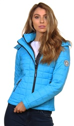 Superdry Vibrant Aqua Hooded Box Quilt Fuji Jacket