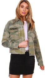 Superdry Washed Camo Utility Crop Jacket