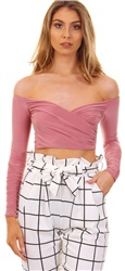 Missi Lond Rose Pink Slinky Wrap Top