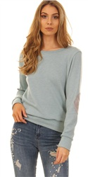 Glamorous Duck Egg Blue Elbow Patch Jumper
