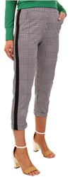 Missi Lond Black/White Check Strip Trouser