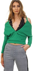 Parisian Green Rib Cold Shoulder Top