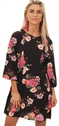 Ax Paris Black Floral Sleeve Dress